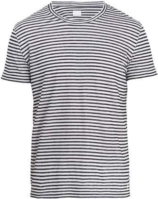 120% Lino 120 LINO Crew-neck striped linen-jersey T-shirt