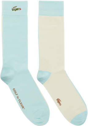 Lacoste Blue and Off-White Golf le Fleur* Edition Colorblocked Socks