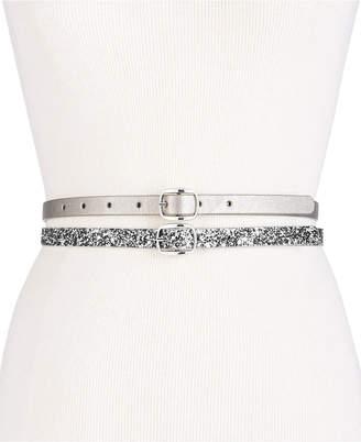 INC International Concepts I.n.c. Glitter & Lace 2-for-1 Skinny Belts