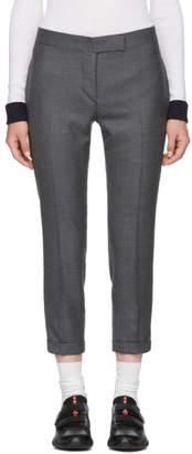 Thom Browne Grey Wool Side Stripe Low-Rise Skinny Trousers
