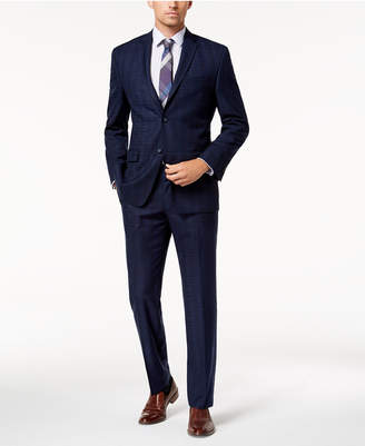 Andrew Marc by Andrew Mark Men's Modern-Fit Stretch Navy Plaid Suit