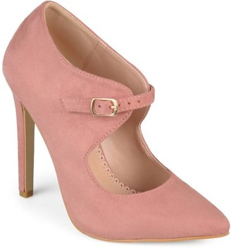 Brinley Co. Women's Faux Suede Pointed Toe Cut-out Heels