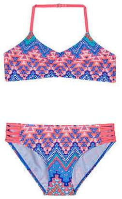 """Gossip Girl Big Girls' 2-Piece """"Junebug"""" Halter Neck Aztec Geo Print Swimsuit"""
