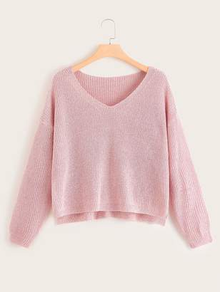 Shein Plus V Neck Solid Sweater
