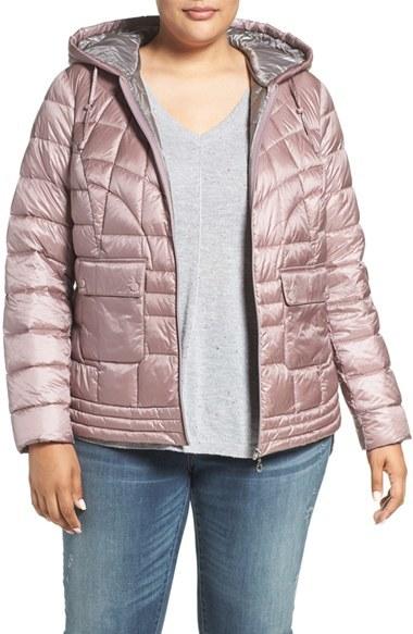 BernardoPlus Size Women's Bernardo Packable Hooded Down & Primaloft Fill Jacket