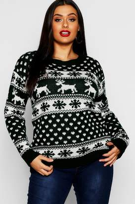 boohoo Plus Snowflake Christmas Jumper