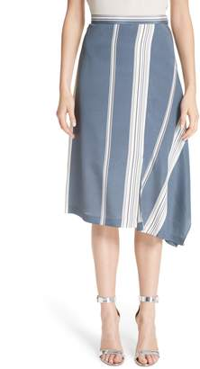St. John Asymmetrical Stretch-Silk Satin Skirt