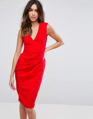 Asos Design Sleeveless Midi Dress with Shoulder Pads