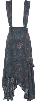 IRO Loeva Ruffled Floral-Print Silk Crepe De Chine Midi Skirt