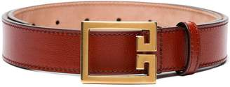 Givenchy red leather logo buckle belt