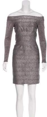 Carmen Marc Valvo Metallic Bodycon Dress