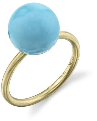 Irene Neuwirth Kingman Turquoise Sphere Ring - Yellow Gold