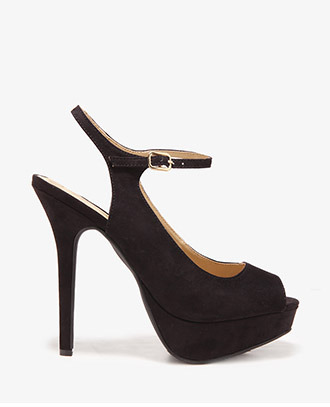Forever 21 Ankle Strap Peep Toe Pumps