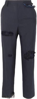 Facetasm Distressed Pinstriped Gabardine Straight-leg Pants