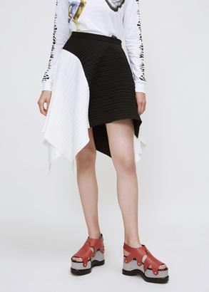 Proenza Schouler black / optic white color block asymmetrical pleated skirt $1,495 thestylecure.com