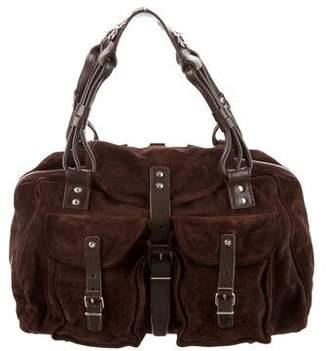 Balenciaga Leather-Trimmed Suede Bag