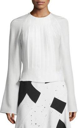 Derek Lam Long-Sleeve Pleated Silk Blouse, White $248 thestylecure.com