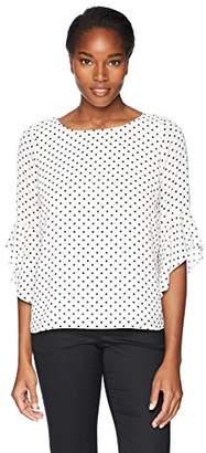 Kasper Women's Poka Dot Printed Ruffle Sleeves Blouse