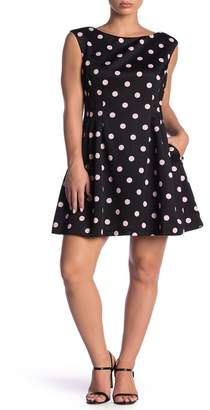 Vince Camuto Polka Dot Fit & Flare Dress (Petite)