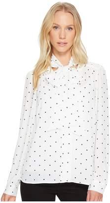CeCe Long Sleeve Gallery Polka Dots Tie Neck Blouse Women's Blouse