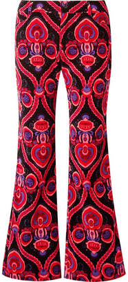 Anna Sui Arabesque Printed Cotton-velvet Flared Pants - Pink