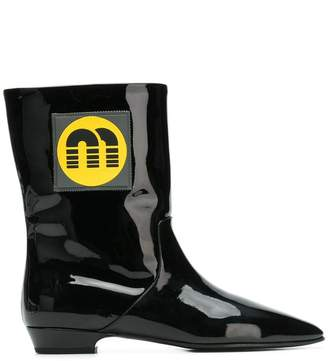 Miu Miu logo patch ankle boots