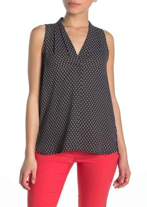 Vince Camuto Pleated V-Neck High/Low Tank Top (Petite)