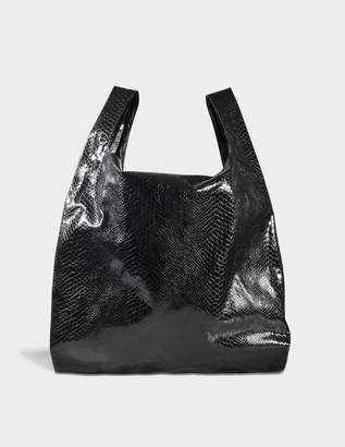 MM6 MAISON MARGIELA Shopper Bag in Black Snake Lame Print on Synthetic Leather