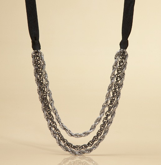 Three Chain Ribbon Necklace