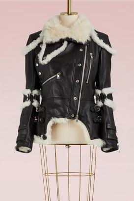 Alexander Mcqueen Leather shearling biker jacket