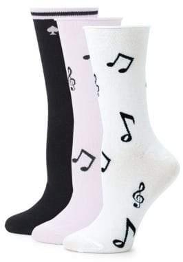 Kate Spade Three-Pack Music Crew Socks