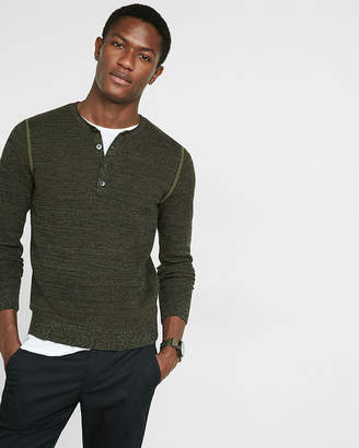 Express Cotton Tuck Stitch Henley Sweater