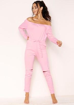 cd773b9d731 Missy Empire Missyempire RiRi Baby Pink Off The Shoulder Jumpsuit