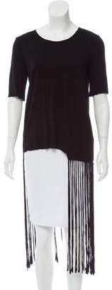 Raquel Allegra Fringe-Trimmed Short Sleeve T-Shirt w/ Tags