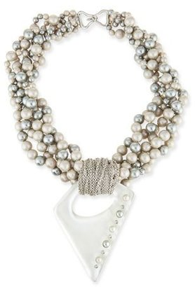 Alexis Bittar Pearly Multi-Strand Necklace with Studded Pendant $695 thestylecure.com