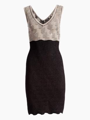 St. John Inlay Sequin Trellis Knit V-Neck Dress