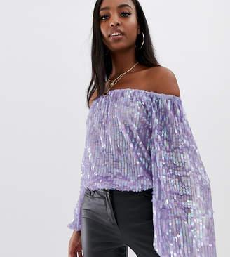 Bardot Asos Tall ASOS DESIGN Tall festival sequin body in lilac purple
