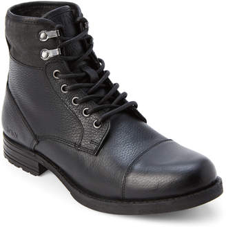 Andrew Marc Black Merrick Leather Lace-Up Boots