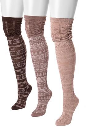 Muk Luks Women's 3-Pair Pack Microfiber Over-the-Knee Socks
