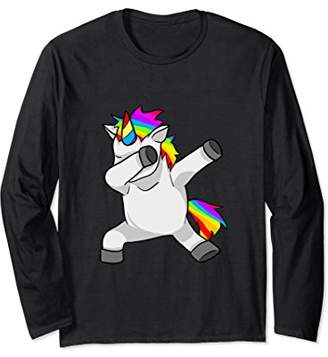 Rainbow Dabbing Unicorn Long Sleeve T-Shirt