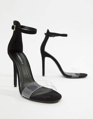 Glamorous Black Clear Strap Sandals