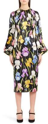 Dolce & Gabbana Iris Print Stretch Satin Dress