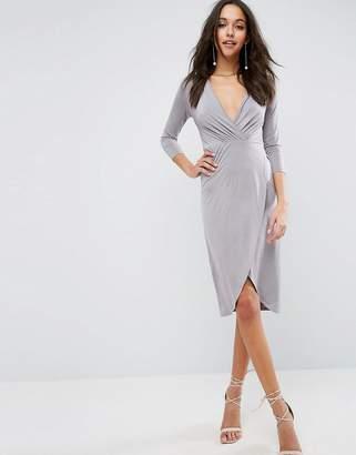 Asos DESIGN Slinky Wrap Midi Dress