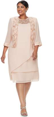 Plus Size Maya Brooke Tiered Dress & Jacket Set