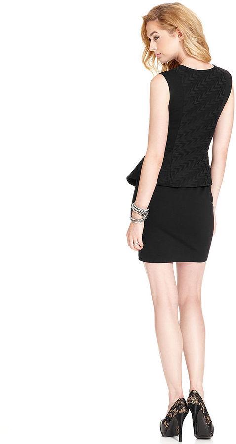 GUESS Dress, Sleeveless Split-Neck Peplum