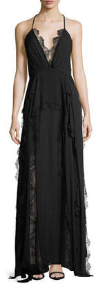 Haute Hippie Ruffled Waterfall Deep V-Neck Silk Evening Gown w/ Lace