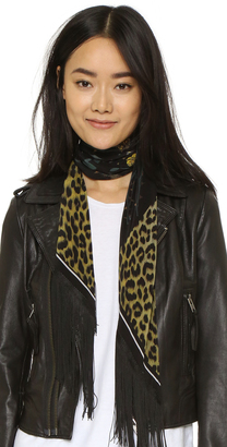 Rockins Classic Skinny Fringed Rose Leopard Silk Scarf $290 thestylecure.com