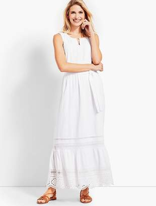 Talbots Pintucked Tiered-Hem Gauze Maxi Dress