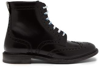 Burberry - Perforated Leather Lace Up Ankle Boots - Mens - Black