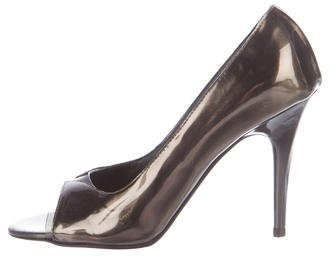 Stella McCartney Metallic Open-Toe Pumps